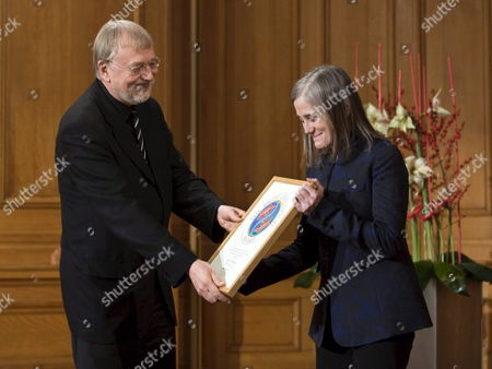 Swedish Jakob Von Uexkull Writer Lecturer Professional Philatelist and Past Member of the European Parliament Presents the Right Livelihood Award to Amy Goodman (r) Us Broadcast Journalist Syndicated Columnist and Author in the Parliament Building in Stockholm Sweden on 08 December 2008 the Award Also is Known As the Alternative Nobel Prize Sweden Stockholm
