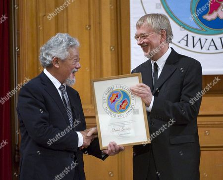 David Suzuki (l) From Canada Receives the Honorary Right Livelihood Award Widely Known As the 'Alternative Nobel Prize' From the Founder of the Prize Journalist and Professional Philatelist Jakob Von Uexkull (r) at a Ceremony in the Swedish Parliament in Stockholm Sweden 04 December 2009 Suzuki was Awarded 'For His Lifetime Advocacy of the Socially Responsible Use of Science and For His Massive Contribution to Raising Awareness About the Perils of Climate Change and Building Public Support For Policies to Address It' Sweden Stockholm