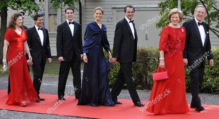 (l-r) Princess Alexia of Greece and Denmark Her Husband Mr Carlos Morales Quintana Prince Philippos of Greece and Denmark Ms Tatiana Blatnik Prince Nikolaos of Greece Queen Anne-marie of Greece and King Constantine of Greece Arrive at the Swedish Goverment Dinner Held at the Eric Ericson Hall on Skeppsholmen Island on the Occasion of the Royal Wedding of Crown Princess Victoria of Sweden and Daniel Westling in Stockholm Sweden 18 June 2010 the Royal Wedding Ceremony Will Take Place on 19 June 2010 in Stockholm Sweden Stockholm