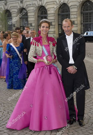 Spain's Infanta Elena (l) and Bulgarian's Prince Kyril (r) Arrive For the Wedding Dinner of Swedish Crown Princess Victoria and Daniel Westling in Stockholm Sweden 19 June 2010 the Bridal Couple Shares the June 19 Wedding Date with Princess Victoria's Parents King Carl Xvi Gustaf and Queen Silvia who Married on 19 June 1976 in the Same Cathedral Sweden Stockholm