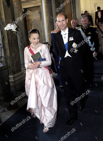 Queen Margarita of Bulgaria (l) Arrives with Her Dinner Partner British Prince Edward (r) to the Wedding Dinner of Crown Princess Victoria of Sweden and Prince Daniel Westling at the Royal Palace in Stockholm Sweden 19 June 2010 the Wedding Date Has Been Set For the Same Day As the Wedding of King Carl Xvi Gustaf and Silvia Sommerlath Which Took Place on 19 June 1976 Princess Victoria and Prince Daniel Westling Have Been a Couple Since 2002 Sweden Stockholm