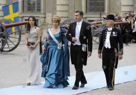 Crown Princess Margarita (front L) and Prince Radu (c) of Romania Arrive to Stockholm's Storkyrkan Cathedral For the Wedding of Swedish Crown Princess Victoria and Daniel Westling in Stockholm Sweden 19 June 2010 the Bridal Couple Shares the June 19 Wedding Date with Princess Victoria's Parents King Carl Xvi Gustaf and Queen Silvia who Married on 19 June 1976 in the Same Cathedral Sweden Stockholm