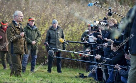 Stock Picture of King Carl Xvi Gustaf of Sweden Holds a Press Conference at the End of His Annual Elk Hunt in the Woods of Hunneberg South West Sweden 04 November 2010 the King Made a Short Comment About the Book Entitled 'Carl Xvi Gustaf the Unwilling Monarch' by by Thomas Sjoeberg Reportedly Providing a Rare and Detailed Look Into the King's Private Life Including Details of Love Affairs Wild Parties with Swedish Models and Connections to the Underworld Sweden Hunneberg
