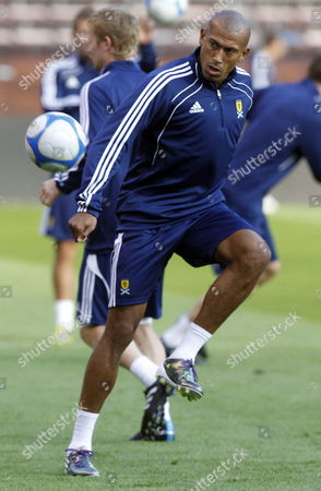 Scotland's Forward Chris Iwelumo Plays the Ball During a Training Session at Rasunda Stadium in Stockholm Sweden 10 August 2010 the Day Before a Friendly Match Against Sweden Sweden Stockholm