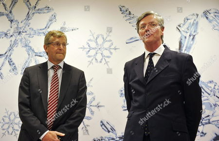 Victor Muller (r) Ceo of Spyker Cars and Jan Ake Jonsson (l) Ceo of Saab Automobile Give a Joint Press Conference at the Grand Hotel in Stockholm Sweden 23 February 2010 Unveiling Spyker's Purchase of Saab Automobile From General Motors Sweden Stockholm