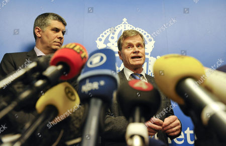 The Head of Swedish Security Police Sapo's Security Department Anders Thornberg (l) and Chief Prosecutor Thomas Linstrand (r) Inform Media at a Press Conference in Stockholm Sweden on 13 December 2010 About the Investigation of the Suicide Bombing in Stockholm the Man Behind the Suicide Bomb Attack in Stockholm at the Weekend Probably Had Accomplices the Investigating Attorney Said 13 December 2010 the Attack was 'Well Prepared' Despite Being a Failure and Thus It was Suspected That There Were Further Helpers He Told a Press Conference However There Are No Specific Suspects Sweden Stockholm
