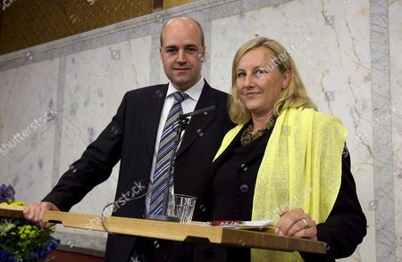 Sweden's Prime Minister Fredrik Reinfeldt (l) with Conservative Lawmaker Ewa Bjorling who is to Become Sweden's New Trade Minister Bjorling 46 Replaces Sten Tolgfors who was Appointed Defence Minister Last Week After Mikael Odenberg Left the Post Because of a Dispute Over Military Spending Sweden Stockholm