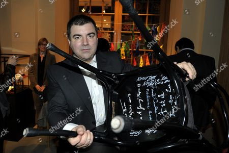 The 2010 Nobel Physics Co-laureate Konstantin Novoselov of University of Manchester Manchester United Kingdom Signs a Chair at the Nobel Museum in Stockholm Sweden 06 December 2010 This is One of the Traditions During the Week Leading Up to the Nobel Prize Ceremony That Will Take Place in Stochkolm on 10 December Sweden Stockholm