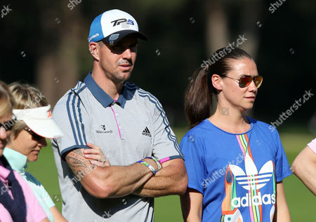 Cricket Kevin Pieteren and wife Jessica Taylor during the BMW PGA Championship Pro Am played at the Wentworth Club, Surrey on 24th May 2017