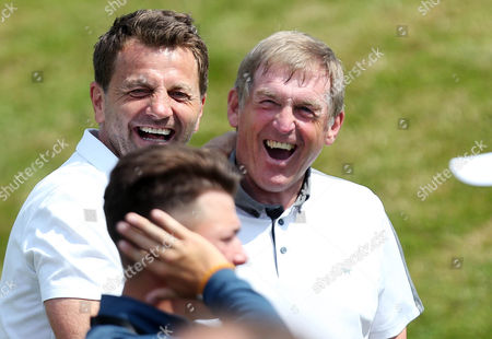 Tim Sherwood and Kenny Dalglish share a joke during the BMW PGA Championship Pro Am played at the Wentworth Club, Surrey on 24th May 2017