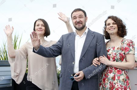 Actors, Artem Tsypin (C), Olga Dragunova (L) and Darya Zhovner  poses during the photocall for 'Tesnota' (Closeness) at the 70th annual Cannes Film Festival, in Cannes, France, 24 May 2017. The movie is presented in the section Un Certain Regard of the festival which runs from 17 to 28 May.