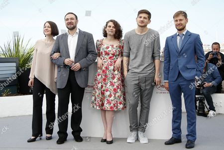 (L-R) Actors, Olga Dragunova, Artem Tsypin, Darya Zhovner, director Kantemir Balagov and Nikolay Yankin pose during the photocall for 'Tesnota' (Closeness) at the 70th annual Cannes Film Festival, in Cannes, France, 24 May 2017. The movie is presented in the section Un Certain Regard of the festival which runs from 17 to 28 May.