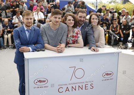 (R-L) Actors, Olga Dragunova, Artem Tsypin, Darya Zhovner, director Kantemir Balagov and Nikolay Yankin pose during the photocall for 'Tesnota' (Closeness) at the 70th annual Cannes Film Festival, in Cannes, France, 24 May 2017. The movie is presented in the section Un Certain Regard of the festival which runs from 17 to 28 May.