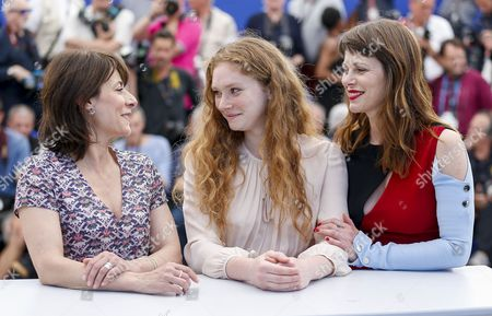 Stock Image of (L-R) Actress Maryline Canto, Actress Charlotte Cetaire and Slovakian actress Barbora Bobulova pose during the photocall for 'Dopo la Guerra' (After the War) at the 70th annual Cannes Film Festival, in Cannes, France, 24 May 2017. The movie is presented in the section Un Certain Regard of the festival which runs from 17 to 28 May.