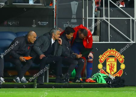 Wayne Rooney receives instructions from Assistant Rui Faria and Manchester United manager Jose Mourinho during the UEFA Europa League Final between Ajax and Manchester United played at The Friends Arena, Stockholm, Sweden on 24th May 2017