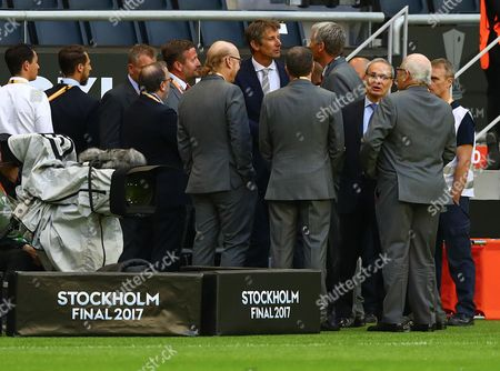 Ajax Chief Executive Edwin van der Sar talks to David Gill during the UEFA Europa League Final between Ajax and Manchester United played at The Friends Arena, Stockholm, Sweden on 24th May 2017