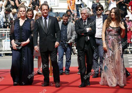 (L-R) Belgium actress Severine Caneele, French actor Vincent Lindon, French director Jacques Doillon and French actress Izia Higelin arrive at the premiere for 'Rodin' during the 70th annual Cannes Film Festival, in Cannes, France, 24 May 2017. The movie is presented in the Official Competition of the festival which runs from 17 to 28 May.