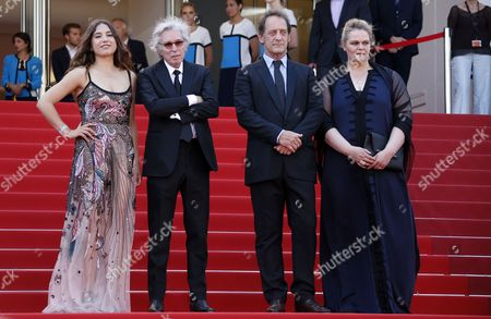 (R-L) Belgium actress Severine Caneele, French actor Vincent Lindon, French director Jacques Doillon and French actress Izia Higelin arrive at the premiere for 'Rodin' during the 70th annual Cannes Film Festival, in Cannes, France, 24 May 2017. The movie is presented in the Official Competition of the festival which runs from 17 to 28 May.