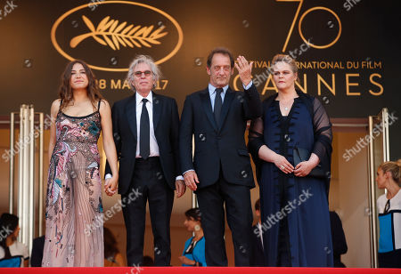 Severine Caneele, Vincent Lindon, Jacques Doillon, Izia Higelin Actors Severine Caneele, right, Vincent Lindon, director Jacques Doillon and actress Izia Higelin, at left, pose for photographers upon arrival at the screening of the film Rodin at the 70th international film festival, Cannes, southern France