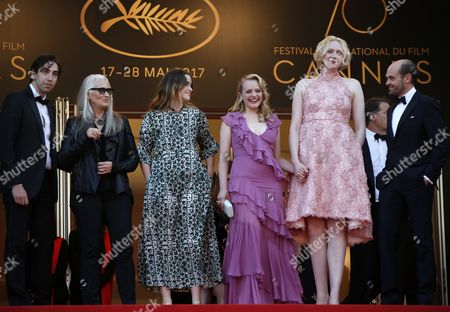 The cast from 'Top Of The Lake: China Girl' Gwendoline Christie, Jane Campion, Elisabeth Moss, Ariel Kleiman, David Dencik and Alice Englert arrive for the premiere of 'The Beguiled' during the 70th annual Cannes Film Festival, in Cannes, France, 24 May 2017. The movie is presented in the Official Competition of the festival which runs from 17 to 28 May.