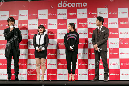 Actors Go Ayano, Buruzon Chiemi, Mitsuki Takahata and Shinichi Tsutsumi, speak during the launch event for 8 new mobile devices for the summer lineup of NTT DoCoMo, Tokyo, Japan.
