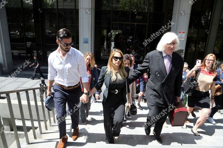 Dani Mathers, Dani Mathers, Tom Mesereau, John Connor Model and Playboy bunny Dani Mathers leaves Los Angeles County Superior Court with her attorney Tom Mesereau, right, and her fiancé John Connor, after pleading no contest to charges related to her taking a photo of a naked, 71-year-old woman in a gym locker room and posting it on social media with insults about the woman's body. She was sentenced to probation and 30 days community service