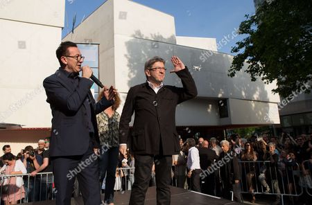 Actor Gerald Dahan and Jean-Luc Melenchon