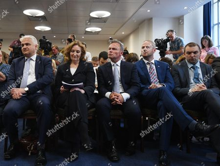 Stock Picture of MEP Patrick O'Flynn (L) Suzanne, UKIP Deputy Chairman (2-L) Evans, and deputy leader Peter Whittle (C) listen to United Kingdom Independence Party (UKIP) leader Paul Nuttall speaking to reporters at their manifesto launch during a campaign event in central London, Britain, 25 May 2017. Voters go to the polls in Britain on 08 June 2017 to elect a new government.