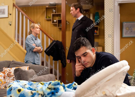 Vanessa Woodfield, as played by Michelle Hardwick, is really unwell and tells Kirin Kotecha, as played by Adam Fielding, to bring her a bucket and call for a doctor as he struggles with a crying Johnny. The doctor confirms Vanessa has the norovirus and advises her to stay away from Johnny for two days. How will Kirin cope having to look after Johnny on his own? (Ep 7419 - Mon 8 Feb 2015).