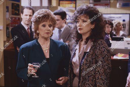 Barbara Knox (as Rita Fairclough) and Irene Skillington (as Carole Burns)