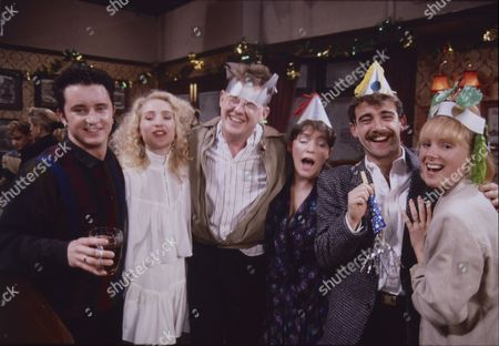 Stuart Wolfenden (Mark Casey), Cast member, Kevin Kennedy (as Curly Watts), Suzanne Hall (as Kimberley Taylor), Michael Le Vell (as Kevin Webster) and Sally Dynevor (as Sally Webster)