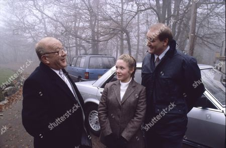 Stock Picture of Roy Barraclough (as Alec Gilroy), Helen Warburton (as Vicky Arden) and John Flanagan (as Tim Arden)