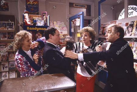 Stock Picture of Thelma Barlow (as Mavis Wilton), Brian Pettifer (as Bagshaw), Barbara Knox (as Rita Fairclough) and Peter Baldwin (as Derek Wilton)