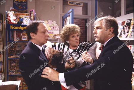 Stock Image of Brian Pettifer (as Bagshaw), Barbara Knox (as Rita Fairclough) and Peter Baldwin (as Derek Wilton)