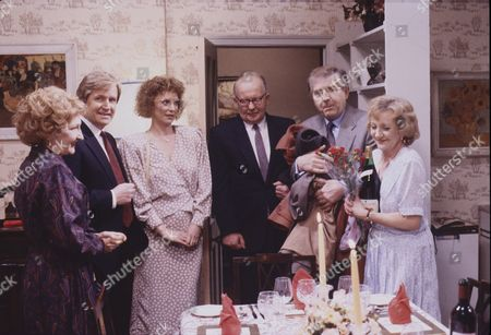 Stock Image of Eileen Derbyshire (as Emily Bishop), William Roache (as Ken Barlow), Anne Kirkbride (as Deirdre Barlow), Michael Sheard (as Arthur Dabner), Peter Baldwin (as Derek Wilton) and Thelma Barlow (as Mavis Wilton)