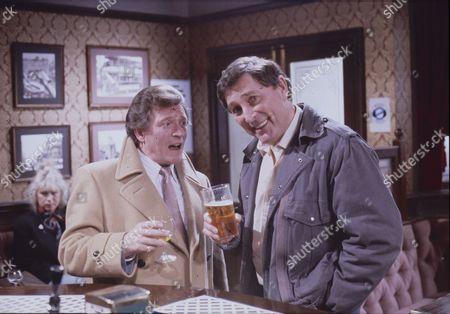 Johnny Briggs (as Mike Baldwin) and Mark Eden (as Alan Bradley)