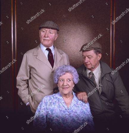 Bill Waddington (as Percy Sugden), Jill Summers (as Phyllis Pearce) and Tom Mennard (as Sam Tindall)