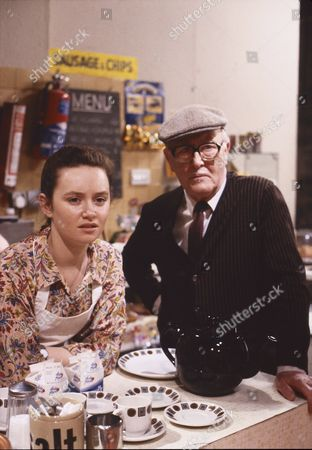 Stock Image of Tara Moran (as Christine Carter) and Bill Waddington (as Percy Sugden)