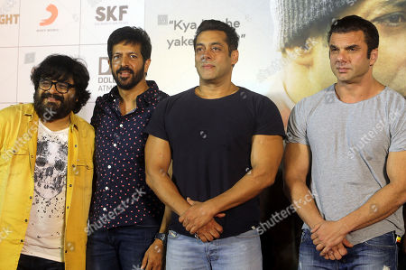 "From left, Bollywood music director Pritam Chakraborty, Director Kabir Khan, actor Salman Khan and Sohail Khan attend the trailer launch of their upcoming movie ""Tubelight"" in Mumbai, India, . The film is scheduled to be released on June 25"