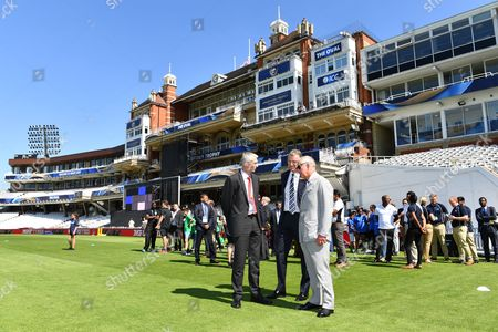 Surrey County Cricket Club Chairman Richard Thompson, Prince Charles with members of eight teams from eight local primary schools taking part in a cricket competition. The eight teams are representing each of the Nations competing in the ICC Champions Trophy (England; New Zealand; Australia; South Africa; India; Pakistan; Bangladesh; and Sri Lanka).