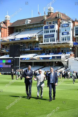 Prince Charles, Surrey County Cricket Club Chairman Richard Thompson and CEO Richard Gould at Surrey County Cricket Club