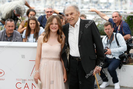 Fantine Harduin, Jean-Louis Trintignant Fantine Harduin and Jean-Louis Trintignant pose for photographers during the photo call for the film Happy End at the 70th international film festival, Cannes, southern France