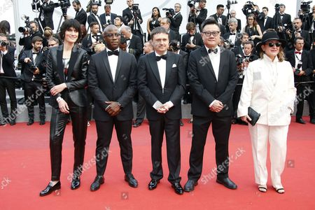 Stock Photo of (l-R) Short Films jury, French actress Clotilde Hesme, Barry Jenkins, Cristian Mungiu, Eric Khoo and Athina Rachel Tsangari arrive for the screening of 'Twin Peaks ' during the 70th annual Cannes Film Festival, in Cannes, France, 25 May 2017. The series is presented out of competition at the festival which runs from 17 to 28 May.