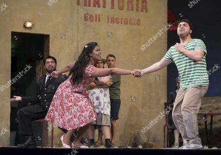 Paolo Bordogna as Belcore, Pretty Yende as Adina, Liparit Avetisyan as Nemorino