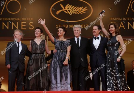 Stock Picture of Sabrina S. Sutherland, Emily Stofle, David Lynch Kyle MacLachlan, Desiree Gruber Producer Sabrina S. Sutherland, second left, Emily Stofle, director David Lynch actor Kyle MacLachlan, and Desiree Gruber, left, pose for photographers upon arrival at the screening of the TV show Twin Peaks at the 70th international film festival, Cannes, southern France