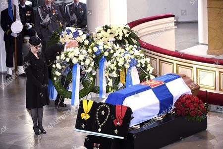 Speaker of the house of Parliament Maria Lohela at the funeral service of late President of Finland Mauno Koivisto at the Helsinki Cathedral