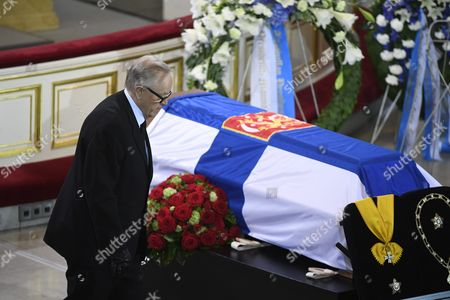Stock Photo of Former president of Finland Martti Ahtisaari at the funeral service of late President of Finland Mauno Koivisto at the Helsinki Cathedral