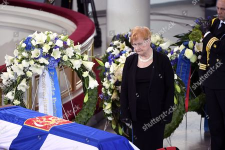 Former president of Finland Tarja Halonen at the funeral service of late President of Finland Mauno Koivisto at the Helsinki Cathedral