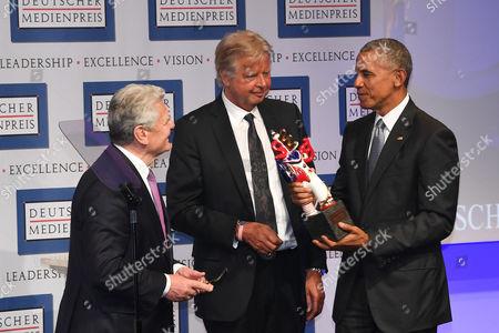 Stock Picture of Joachim Gauck, Karlheinz Koegel and Barack Obama
