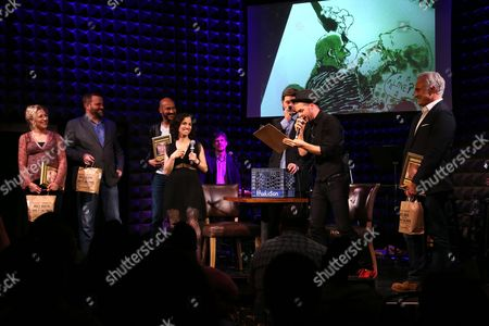 Edie Falco, Stephen Wallem, Keegan-Michael Key, Catie Lazarus, Bradley Whitford, Shockwave and the house band